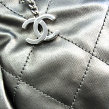 シャネル(Chanel) パリ・ビアリッツ MM キャンバス,コーティングキャンバス トートバッグ クリーム,メタリックグレー