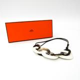 Hermes Calamba Buffalo Horn,Lacquer Women's Pendant Necklace (Beige,Dark Brown,White)