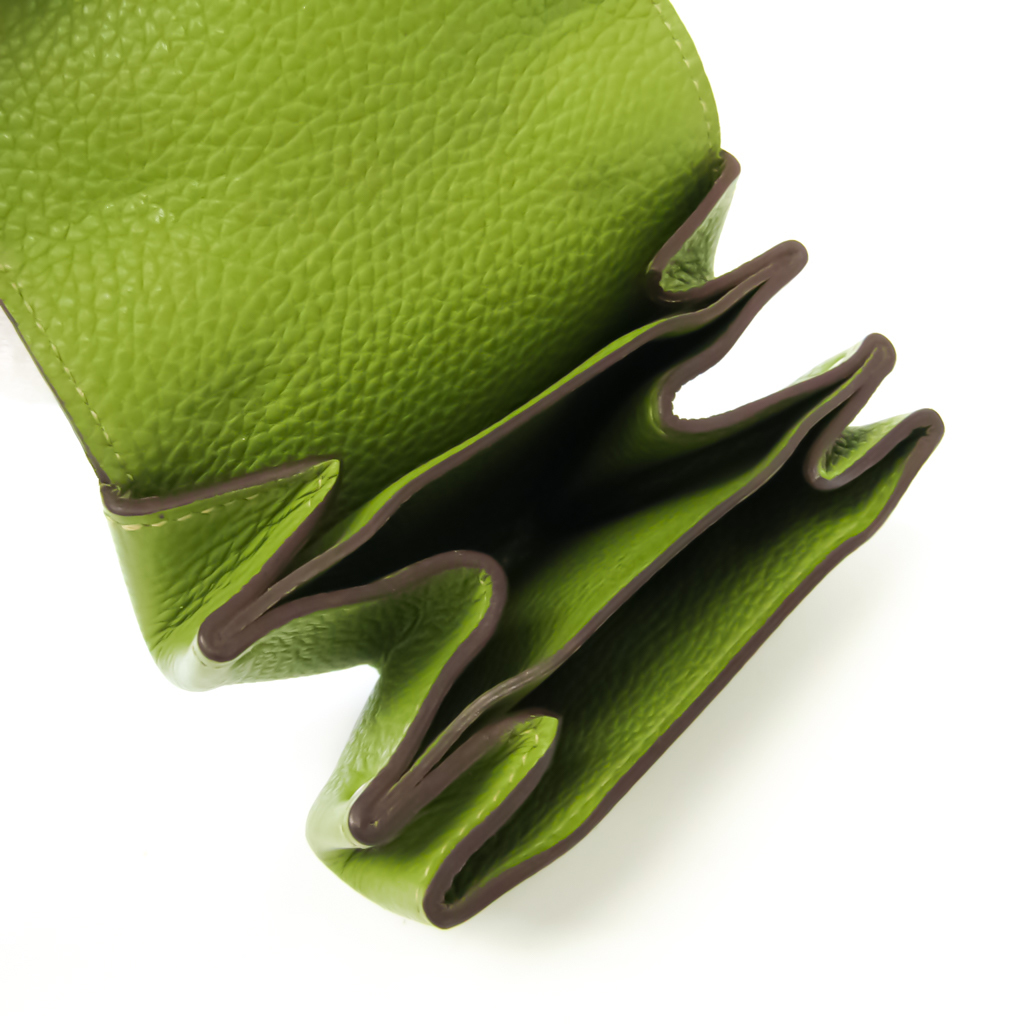Hermes LE 24 Women's Leather Coin Purse/coin Case Green