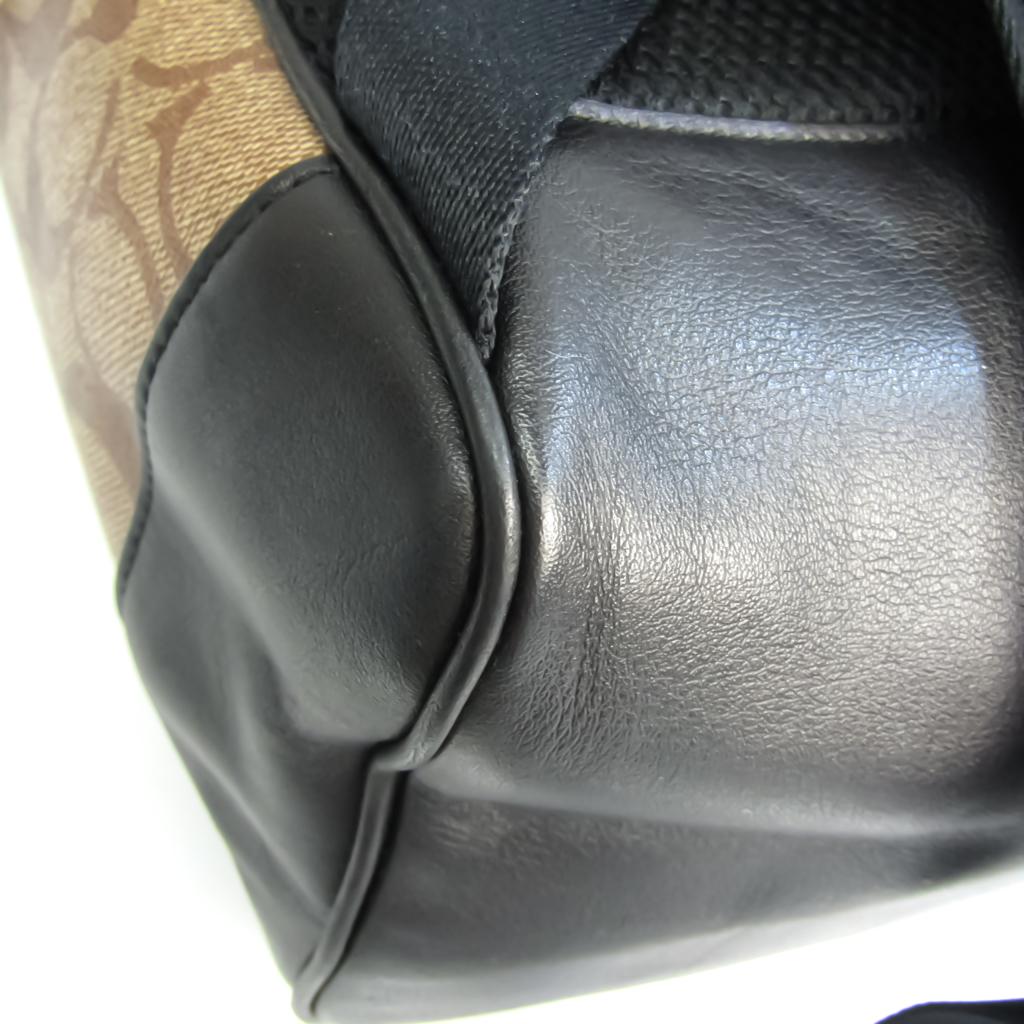 Coach Signature Slim F78756 Unisex Leather,Coated Canvas Backpack Beige,Black