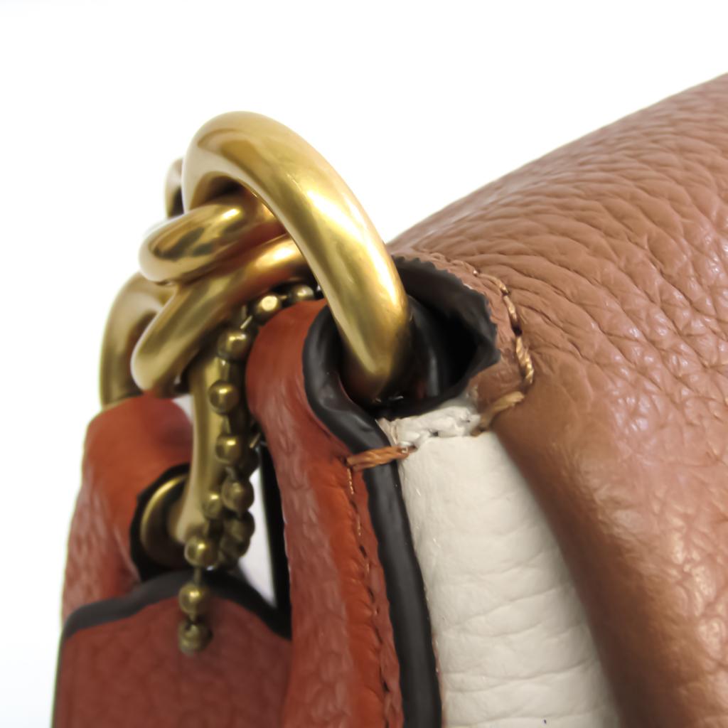 Coach Boutique Line Color Block May 4613 Women's Leather Handbag,Shoulder Bag Beige,Brown,Red Brown,White