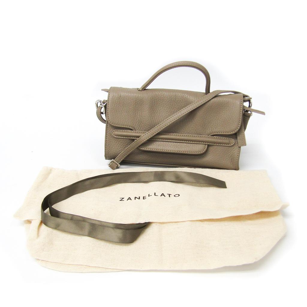 Zanellato Nina Women's Leather Handbag,Shoulder Bag Gray Beige