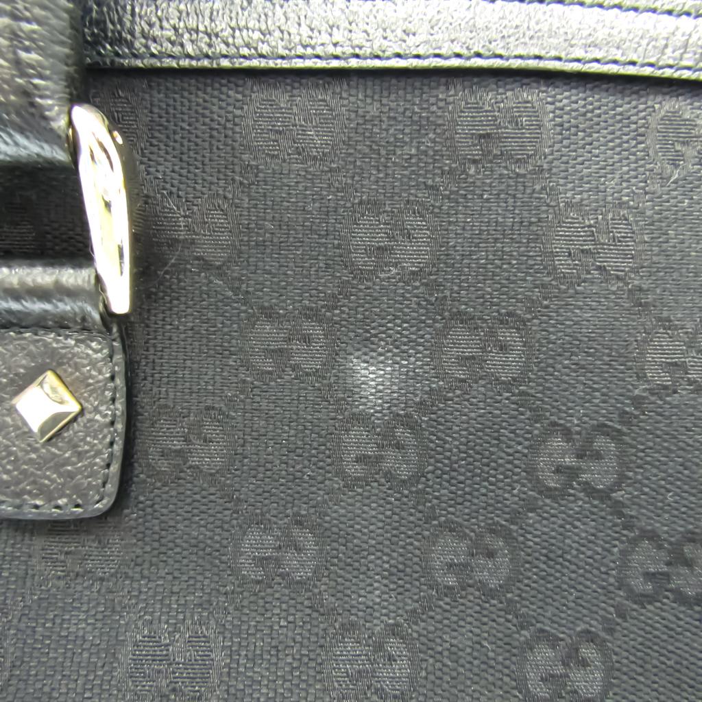 Gucci GG Canvas 211955 Women's Canvas,Leather Handbag Black