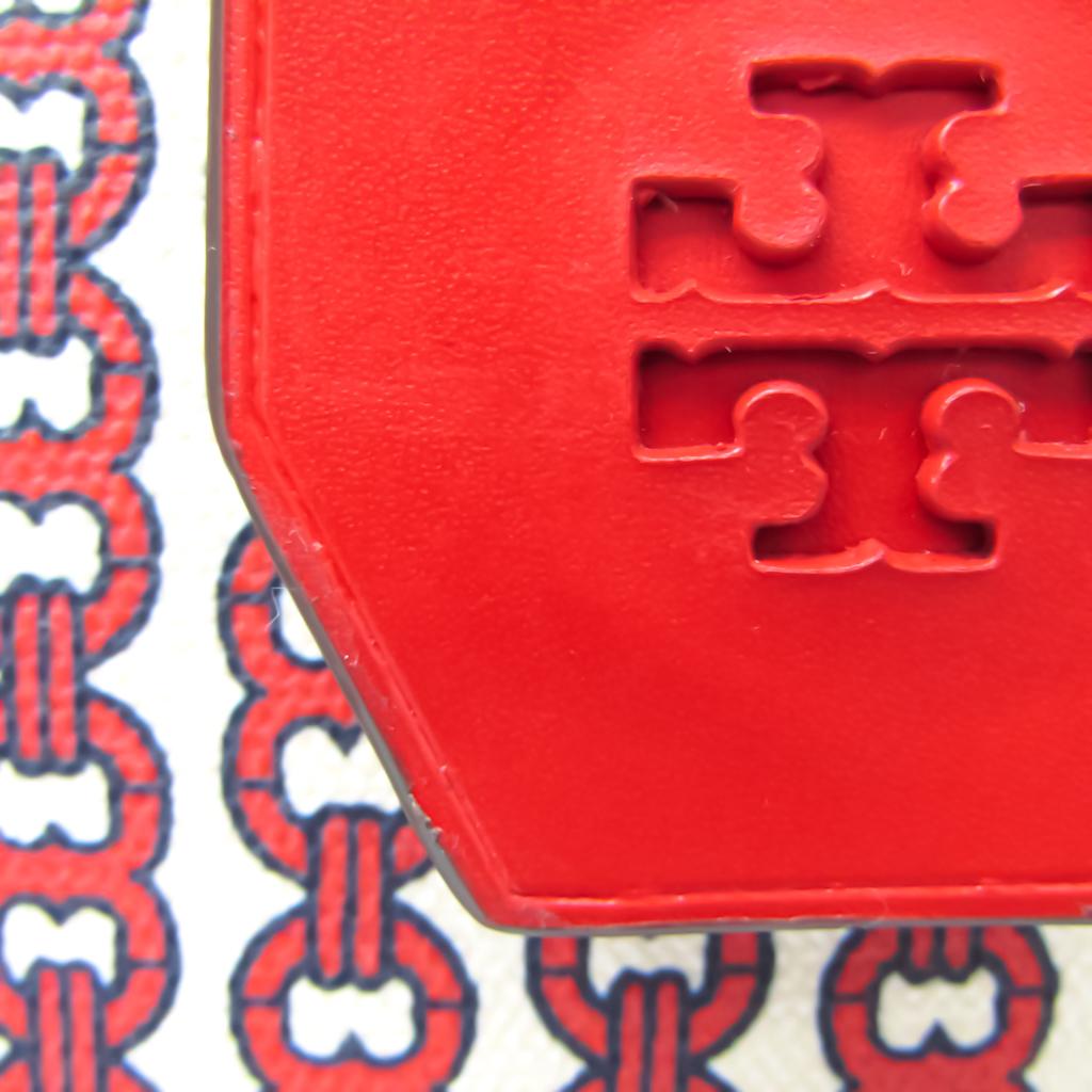 Tory Burch Gemini Link Women's Leather,PVC Handbag,Shoulder Bag Cream,Off-white,Red Color
