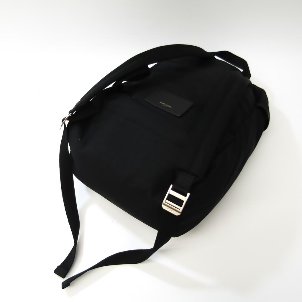 Saint Laurent Hunting Lock Sack 342609 Unisex Canvas,Leather Backpack Black