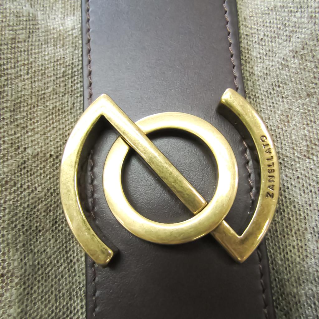 Zanellato Zoe XL Women's Hemp,Leather Tote Bag Beige,Dark Brown