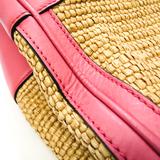グッチ(Gucci) バンブー ショッパーミディアム 336032 レディース レザー,ストロー ハンドバッグ,ショルダーバッグ ベージュ,ピンク