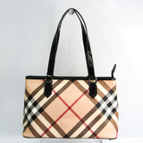Burberry 3459861 Women's Patent Leather,Coated Canvas Tote Bag Beige,Black,Brown,Red Color