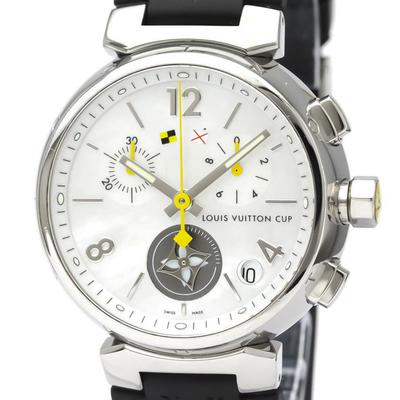 Louis Vuitton Tambour Quartz Stainless Steel Men's Dress Watch Q11BA