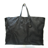 Bottega Veneta Intrecciolusion Unisex Nylon,Leather Tote Bag Black,Gray