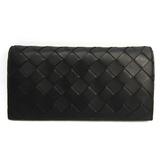 Bottega Veneta Intrecciato 134075 Unisex  Lamb Leather Long Wallet (bi-fold) Black