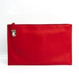 Prada Unisex Leather Clutch Bag Red Color