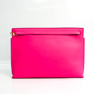 ロエベ(Loewe) Tポーチ レディース レザー クラッチバッグ ピンク,ホワイト