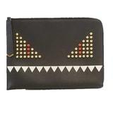 Auth Fendi Monster Men's Leather Clutch Bag Black
