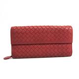 Bottega Veneta Intrecciato Women's  Lamb Leather Long Wallet (bi-fold) Dusty Pink