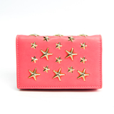 Jimmy Choo NELLO Leather Business Card Case Pink