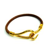 エルメス(Hermes) ジャンボ レザー,メタル バングル ブラウン,ゴールド