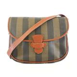 Auth Fendi Pequin Shoulder Bag Women's PVC Shoulder Bag Khaki