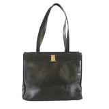 Auth Salvatore Ferragamo Tote Bag Vala Women's Leather Black
