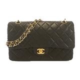シャネル(Chanel) マトラッセ WフラップWチェーン レディース レザー ショルダーバッグ ブラック