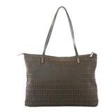 Auth Fendi Zucchino Handbag Women's Nylon Canvas Tote Bag Brown