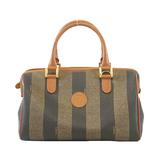 Auth Fendi Pequin Handbag Women's PVC Khaki