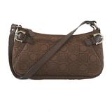 Auth Salvatore Ferragamo Gancini Handbag Women's Canvas Handbag Brown