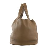 Auth Hermes Picotin Picotan Lock MM Y Engraved Women's Leather Handbag Etoupe Gr