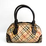 Burberry Studs 3712589 Women's Leather,PVC Handbag Beige,Brown