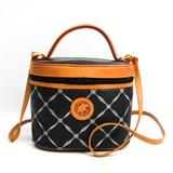 Hunting World Safari Women's Leather,PVC Handbag,Vanity Bag Beige,Navy