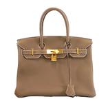Auth  Hermes Birkin Birkin 30 C Engraved Togo Etup Women's Leather Handbag Etoupe Gray