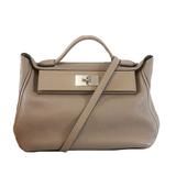 Auth  Hermes 2Waybag Sack 24/24 29 C Engraved Taurillon Maurice / Swift Glia Asphalt Women's Handbag,Shoulder Bag