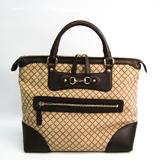 Gucci Diamante Horsebit 247283 Women's Canvas,Leather Handbag Beige,Brown