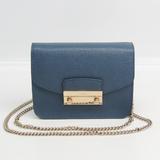 Furla Julia Women's Leather Shoulder Bag Dark Blue