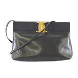 Auth Salvatore Ferragamo Vara Women's Leather Shoulder Bag Navy