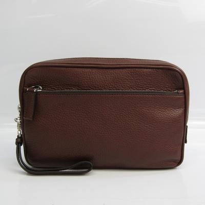 Prada 2VF007 Unisex Leather Clutch Bag Brown