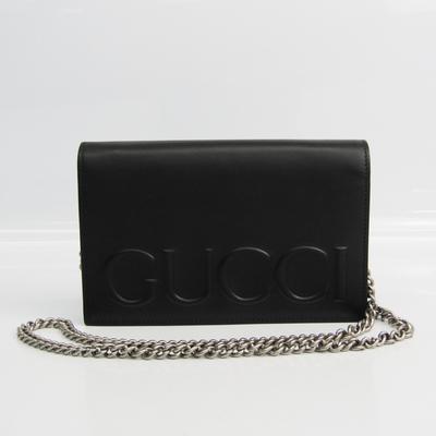 Gucci Gucci XL Chain Wallet 421850 Women's  Calfskin Chain/Shoulder Wallet Black