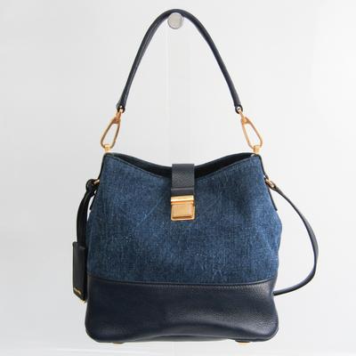 Miu Miu RR1951 Women's Denim,Leather Handbag,Shoulder Bag Blue,Navy