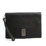Prada Unisex Leather Clutch Bag Black