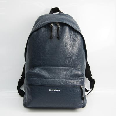 Balenciaga EXPLORER 503221 Unisex Leather Backpack Navy
