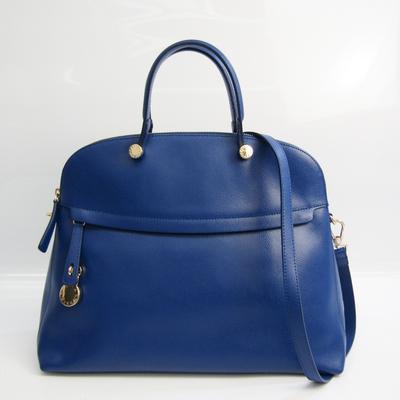 Furla Piper M Women's Leather Handbag Blue