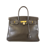 Auth Hermes Birkin Birkin 35 〇 Y Engraved Vogue River Women's Handbag Brown