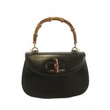 Auth Gucci Bamboo 2way Bag 000 46 0188 Women's Leather Handbag,Shoulder Bag Black