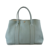 Auth Hermes Garden Party PM □ P Engraved Women's Country Leather Tote Bag Ciel