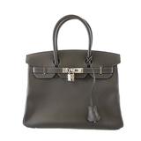 Auth  Hermes Birkin Birkin 30 □ L Engraved Tail Women's Epsom Leather Handbag Graphite