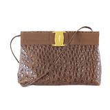 Auth Salvatore Ferragamo Vara Shoulder Bag Women's Leather Shoulder Bag Brown