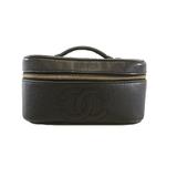 Auth Chanel Vanity Bag Women's Caviar Leather Handbag,Vanity Bag Black