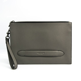 Coach Structured Pouch F68154 Unisex Leather Clutch Bag Gray