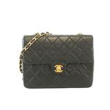 Auth  Chanel Matelasse W Flap Single Chain Women's Leather Shoulder Bag Black