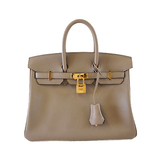 AuthHermes Birkin Birkin 25 C Engraved Grease Asphalt Women's Swift Leather Handbag